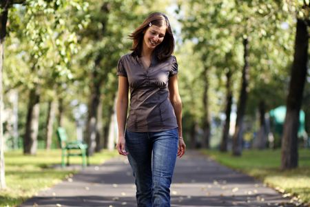 utmost: Portrait of the girl to the utmost in the street Stock Photo
