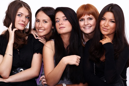 five closeup portrait beautiful women Stock fotó