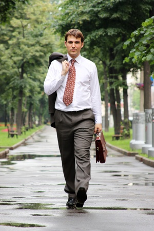 gait: businessman walking on the street Stock Photo
