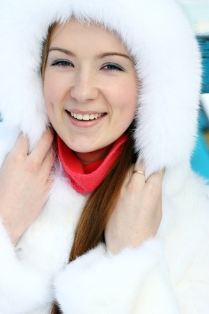 Girl in furry hat   photo