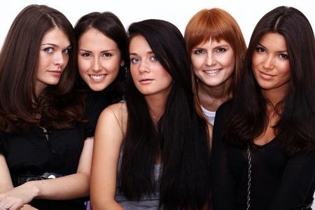 five close up portrait beautiful women Stock fotó