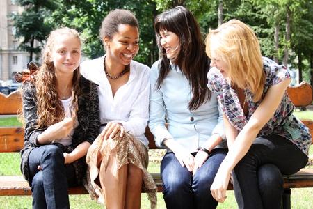 four beautiful ethnic women in studio Stock fotó
