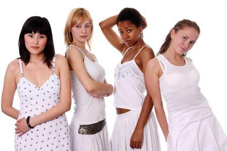 four person: four ethnic women  Stock Photo