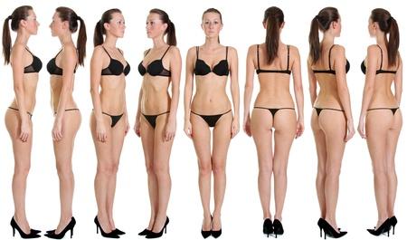 piernas sexys: Modelo de ropa interior hermoso sobre un fondo blanco