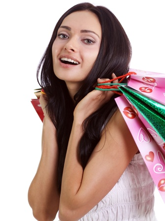 Shopping woman smiling. Isolated over white background Stock Photo - 9513480