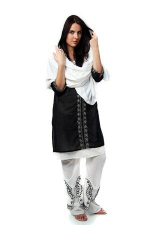 sari: joven vestido de sari Foto de archivo