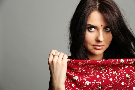 adult indian: young woman in sari  Stock Photo
