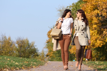 Two cheerful girls twins, in the autumn park  photo