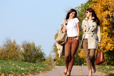 fashion bag: Two cheerful girls twins, in the autumn park