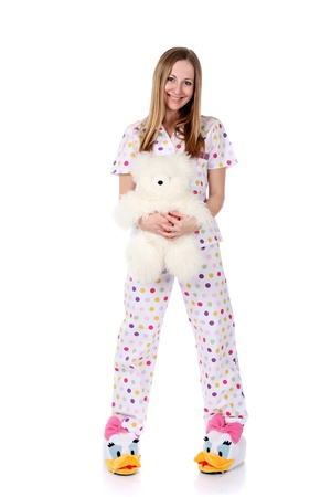 drowse: young woman in pajamas Stock Photo