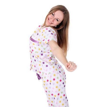 pajama: young woman in pajamas Stock Photo