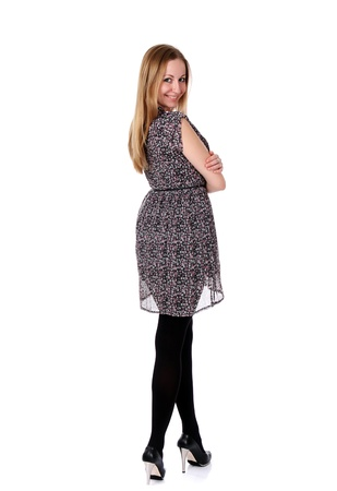 Full length of a beautiful young lady in dress  photo