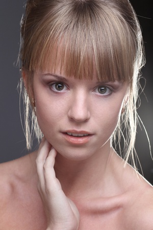 Portrait of young beautiful blond girl  photo
