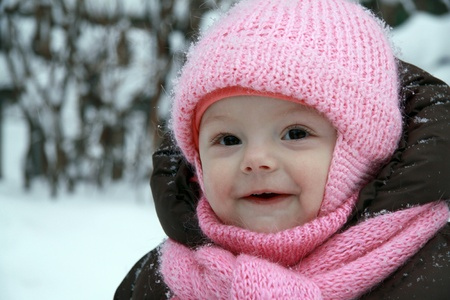 Happy baby outdoor in winter�