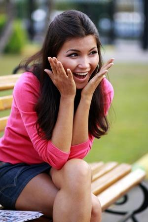 flirting women: asian beauty Stock Photo