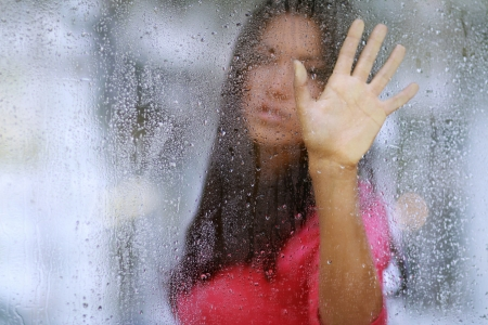 feeling sad: Kiss the rain Stock Photo