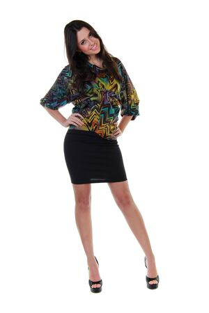 Full length of a beautiful girl in black skirt and colorful blouse Stock Photo - 12500299