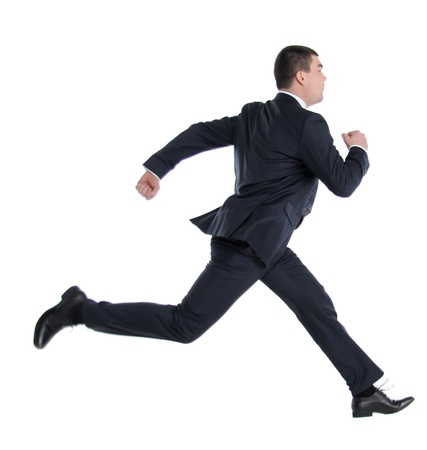 russian man: business man running on isolated white background