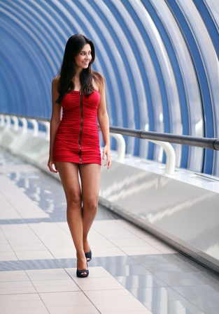 Lady in red dress 写真素材