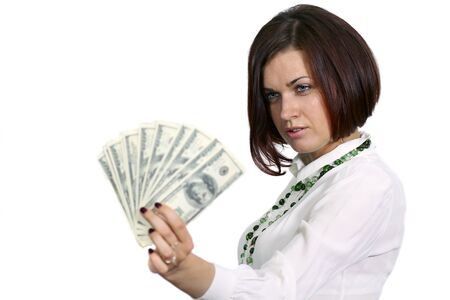 young woman with dollars in hand on white background Stock Photo - 14261868