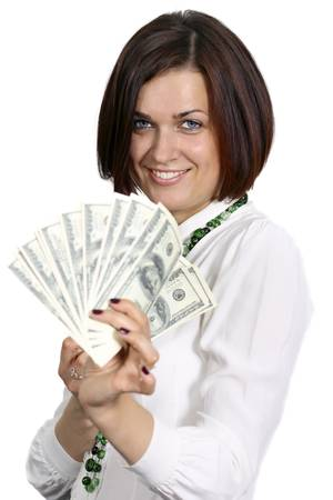young woman with dollars in hand on white background Stock Photo - 14261877