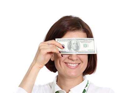 young woman with a dollar bill in his hand Stock Photo - 14261853