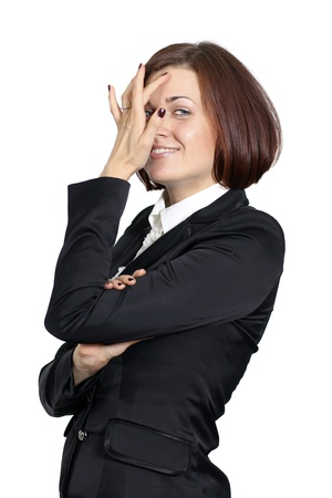 beautiful woman in a business suit on white background Stock Photo - 18889766