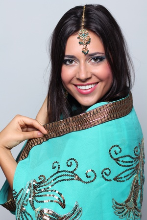 young pretty woman in indian turquoise sari Reklamní fotografie