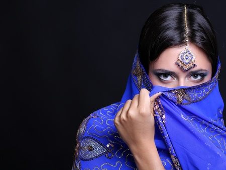 kashmir: young pretty woman in indian blue dress