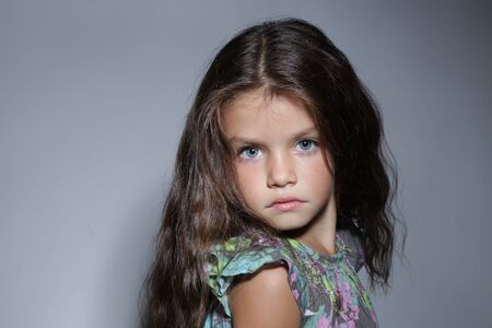 six girls: close up portrait of young beautiful little girl with dark hair