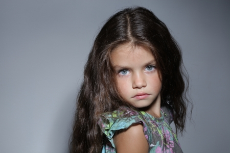 russian girls: close up portrait of young beautiful little girl with dark hair