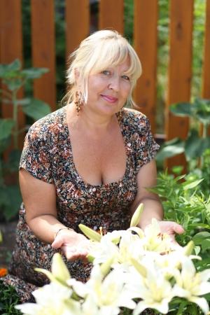 Closeup portrait of a happy mature woman Stock fotó