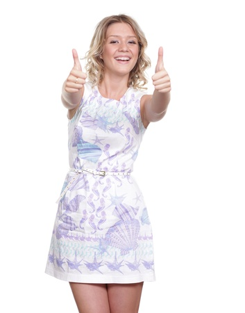 Happy young woman in sexy dress photo