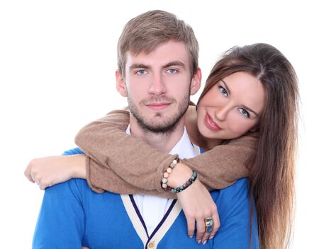 Closeup portrait of young happy man and woman couple in love  photo