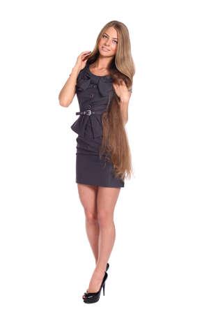 russian girls: Longitud total de una hermosa dama joven en el vestido Foto de archivo