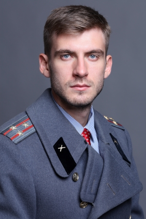 greatcoat: portrait of Russian military officer in greatcoat
