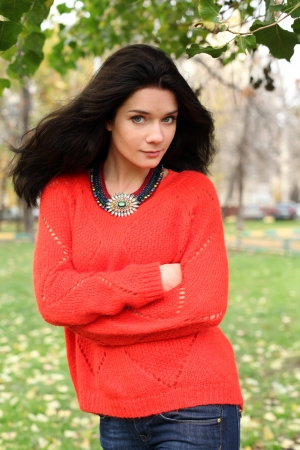 Autumn portrait of a girl in a red sweater photo