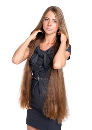 hair dress: hermosa mujer joven en traje de