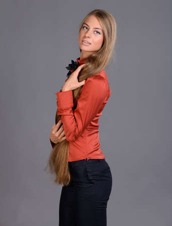 Portrait of the blonde with long hair photo