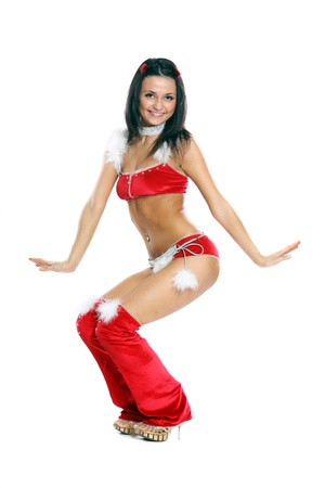 sexually: Portrait of beautiful sexy girl wearing like santa claus isolated on white background