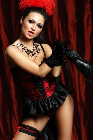 Sexy moulin rouge girl wearing hot lingerie  photo