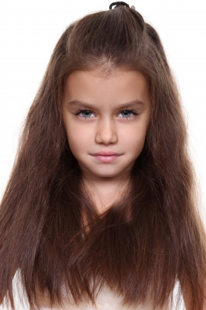 Closeup portrait of pretty little girl photo