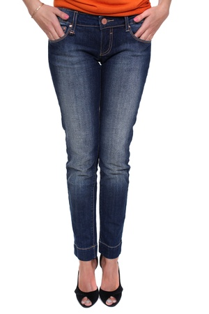 Close female blue jeans photo