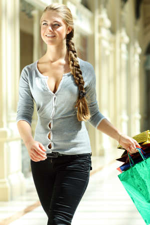 happy woman doing shopping  photo