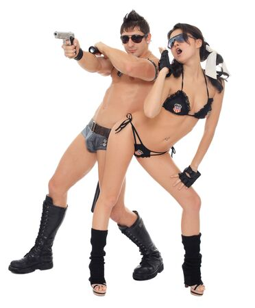 two dancers dressed as police photo