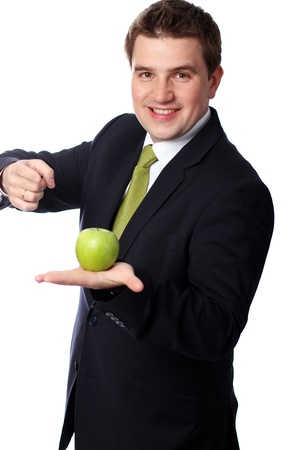 Portrait of young businessman standing against isolated white background  photo