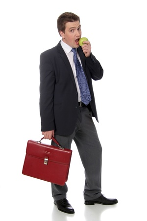 business man and green apple Stock Photo - 17270928