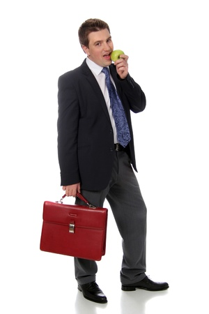 business man and green apple Stock Photo - 17270930