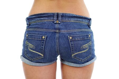 Fashionable womens blue denim shorts photo