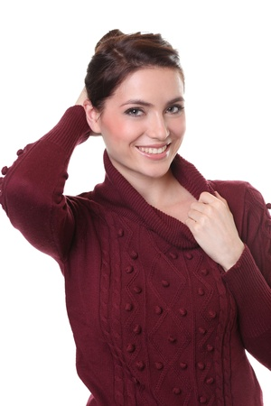 portrait of a beautiful happy woman in a knitted jacket photo